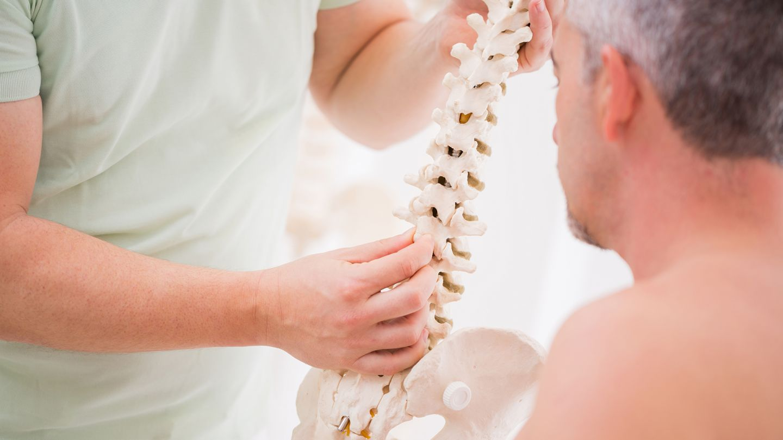 Bandscheibenvorfall: Eine Ärztin zeigt einem Mann das Modell einer Wirbelsäule.